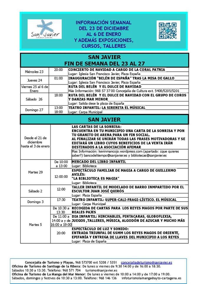 Información actividades del 23 Diciembre 2015 al 6 de Enero 2016