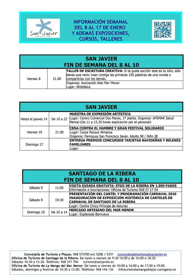 Información actividades del 8 Enero 2016 al 17 de Enero 2016