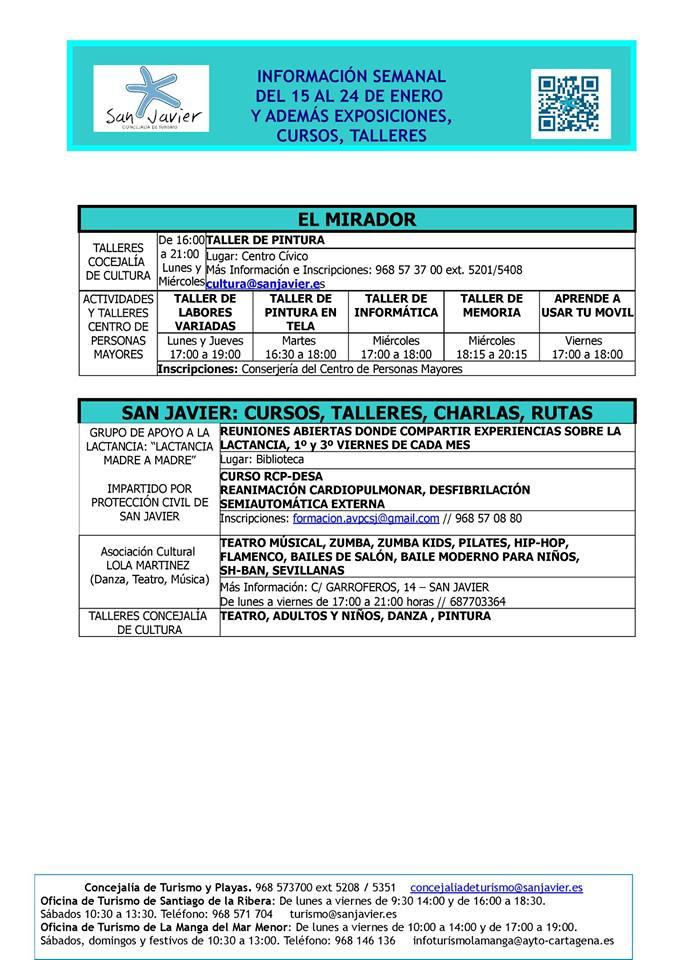 Información de actividades del 15 al 24 de enero 2016