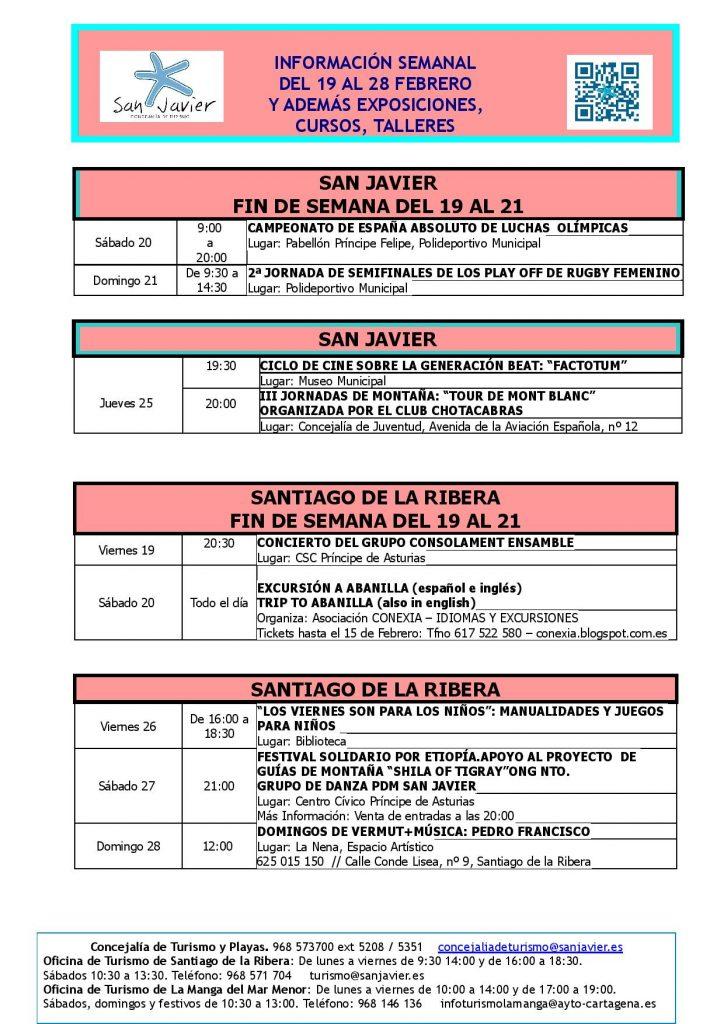 Información actividades del 19 al 28 de febrero 2016