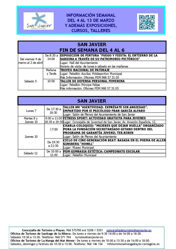 Información actividades del 4 al 13 de marzo