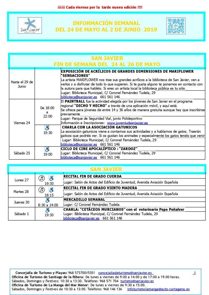 cartel informativo de las actividades del 24 de mayo al 2 de junio