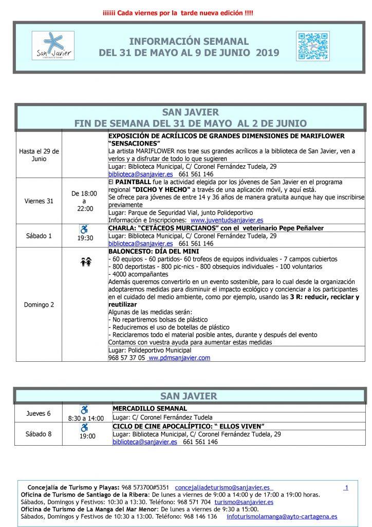 actividades del 31 de mayo al 9 de junio 2019
