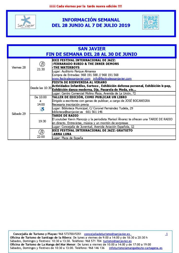 Del 28 de junio al 7 de julio actividades