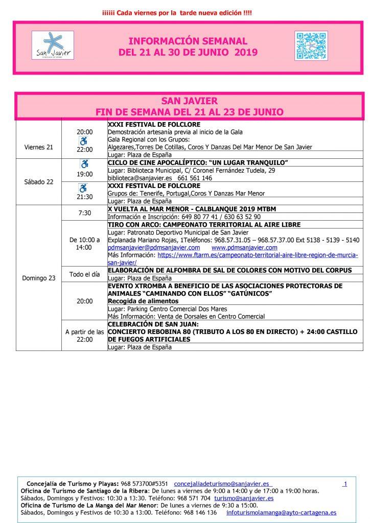 San javier del 21 al 30 fr junio 2019
