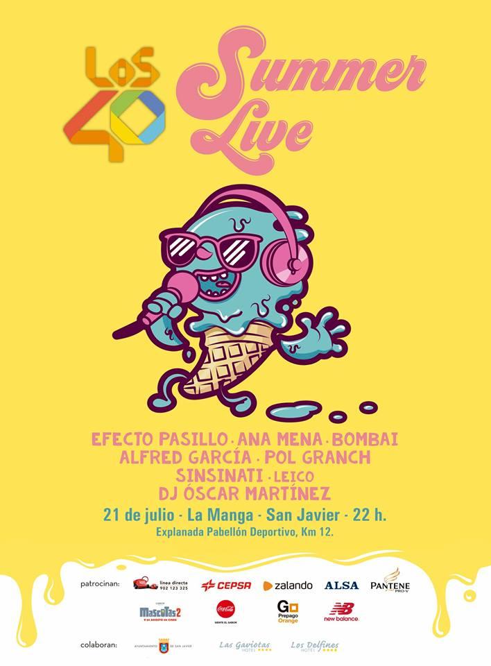 anuncio de concierto de los 40 summmer live en la manga del mar menor